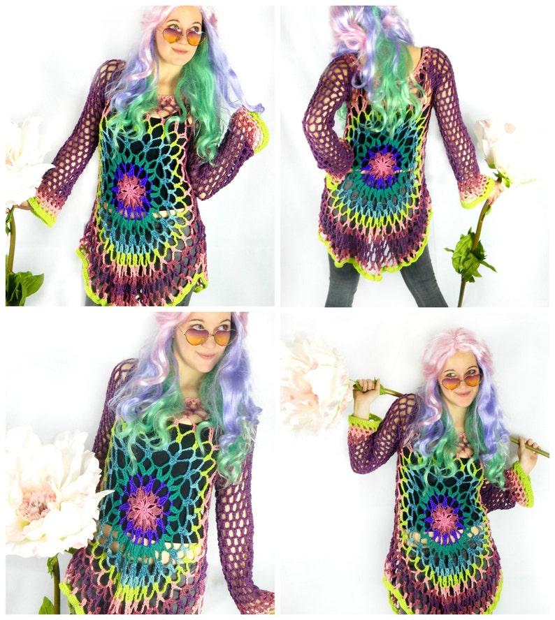 Instant Download PDF File Flower Child Pullover  Floral Mandala Sweater Dress  Hippie Retro Boho Festival Wear Crochet PATTERN