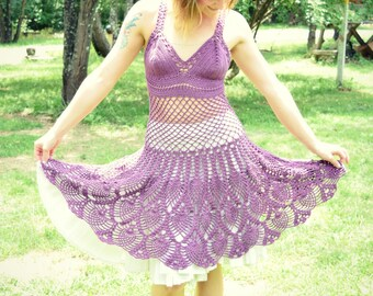 Crochet Lace Dress / Size Small / Cute Festival Dress / Handmade Cotton Blend Halter Top Mesh Dress with A-Line Knee Length Skirt