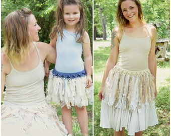 Crochet PATTERN: Cecilia Skirt Belt, Child & Adult Size /Fabric Fringe Pixie Belt / Tattered Faerie Layering Skirt - Instant Download PDF