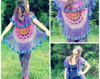 Crochet PATTERN: Lotus Mandala Circular Vest / Colorful Crochet Circular Vest / Crochet Mandala Shawl Pattern Instant Download PDF