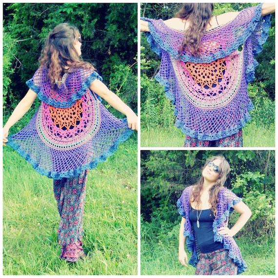 Crochet Pattern Lotus Mandala Circular Vest Colorful Etsy