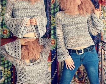 Crochet PATTERN: Window Box Sweater / Bell Sleeve Crop Top Pattern/ Flare Sleeve Cropped Sweater / Hippie Boho Rock - Instant Download PDF