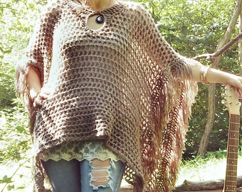 "Fringed Keyhole Collar Poncho in ""Mushroom"" / Boho Hippie Retro Poncho / Lightweight Feminine Wrap - Ready to Ship"