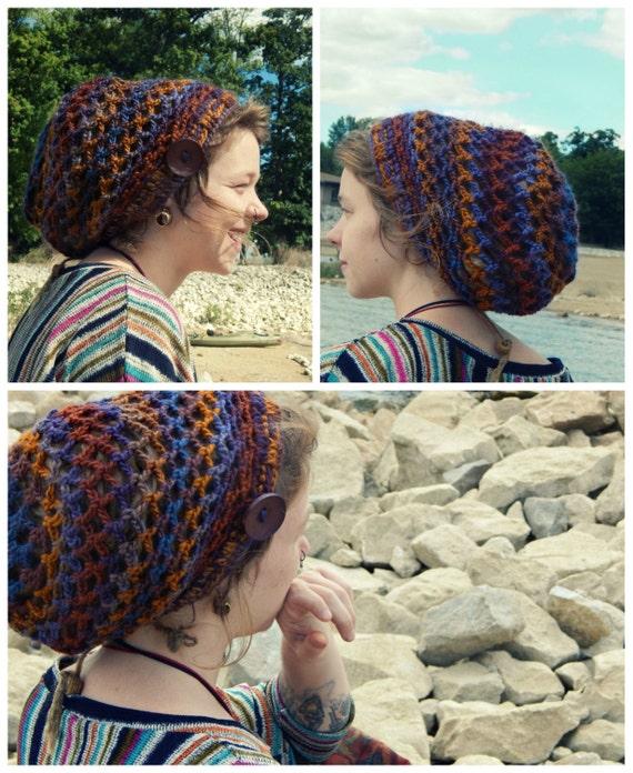 Crochet Pattern Mini Mandala Slouchy Tam Dread Hat Snood Etsy