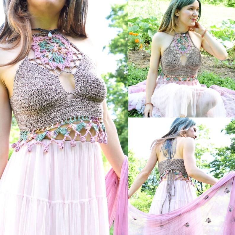 Crochet PATTERN: Kismet Halter Top / Pretty Lace Mandala image 0