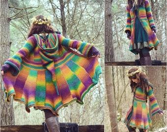 Crochet PATTERN: Elf Coat Tunisian Crochet Pattern / Fantasy Magical Cosplay Renaissance Hooded Pixie Coat / Knit Sweater Coat Pattern