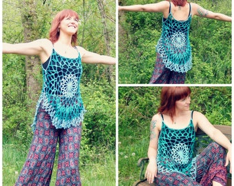 Crochet PATTERN:  Mandala Top / Romantic Hippie Festival Tank Top Lace Beach Coverup PATTERN ONLY