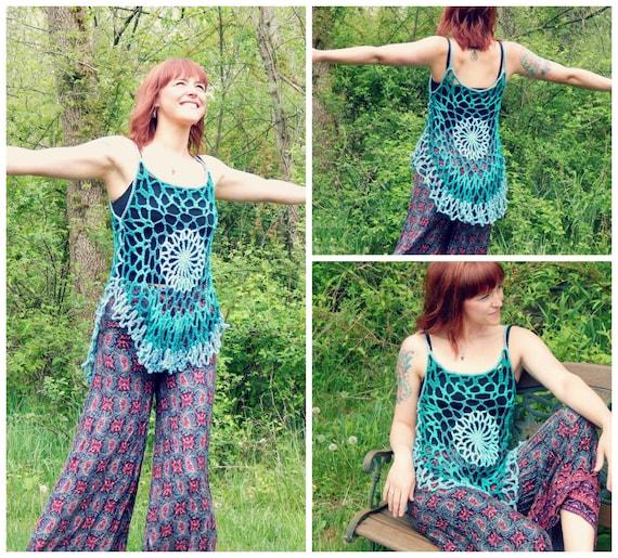 crochet pattern mandala top romantic hippie festival tank etsy. Black Bedroom Furniture Sets. Home Design Ideas