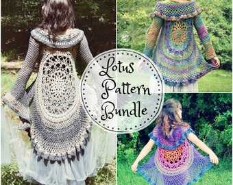 Crochet PATTERN Bundle: Lotus Duster & Lotus Vest / Bohemian Hippie Lace Mandala Jacket Vest / 2 Instant Download PDFs