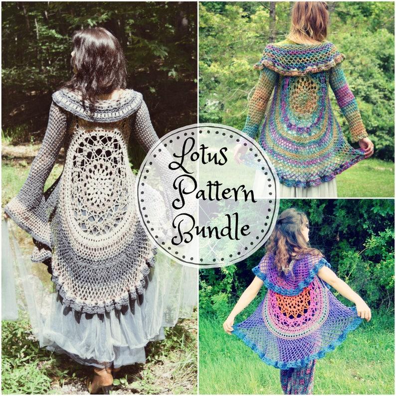 58a13168ca2fc9 Crochet PATTERN Bundle  Lotus Duster   Lotus Vest   Bohemian