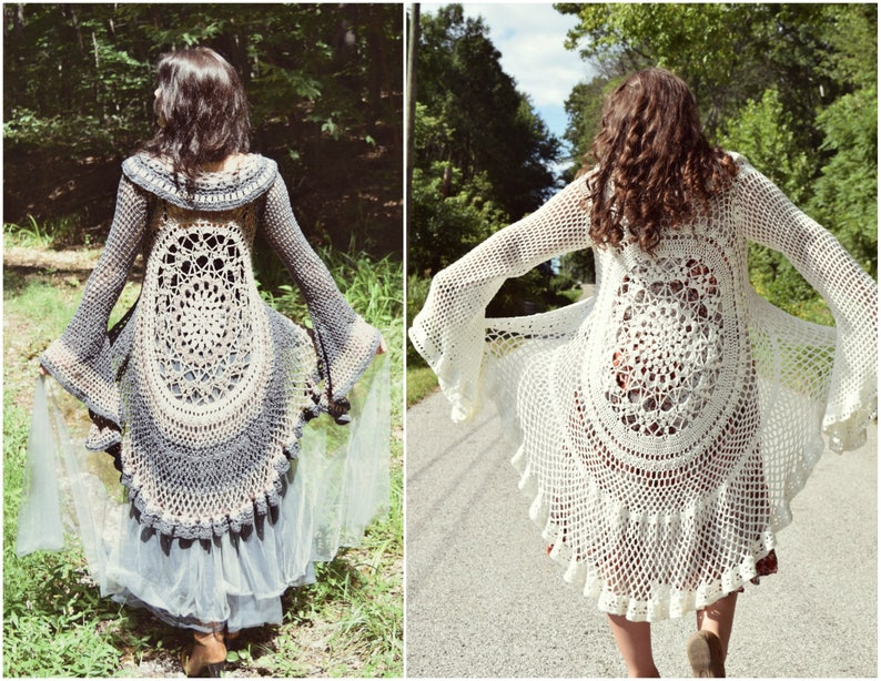 Crochet Pattern Lotus Duster The Original Bell Sleeve Lace Etsy