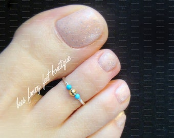 7bc76581f Toe Ring, Turquoise Silver and Gold Sweet Petite Stretch Bead Toe Ring