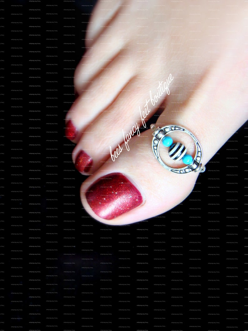 Turquoise Stone Ring Stretch Bead Toe Ring Silver Plated Toe Ring Stripe Pearl Bead Toe Ring Big Toe Ring Indian Toe Ring