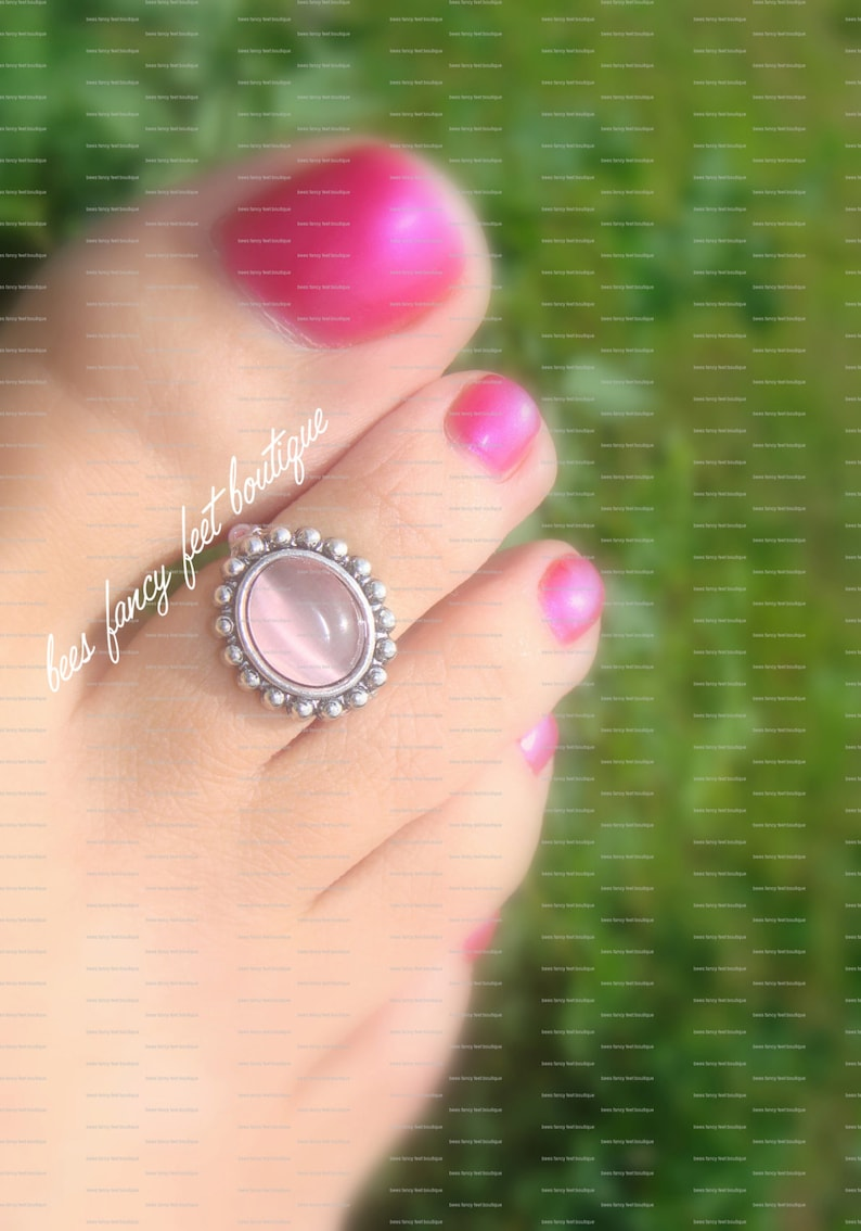 Victorian Toe Ring Pink Glass Slider Bead Stretch Bead Toe Ring Victorian Ring Pink Beads Ring Toe Ring