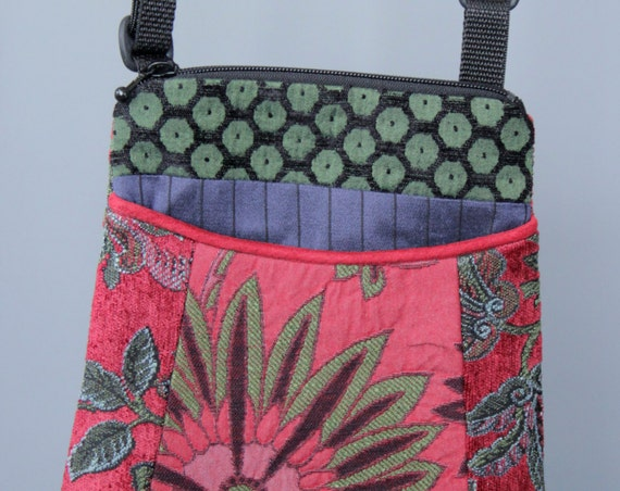 Wildflower Adjustable Purse in Pink and Green Floral Jacquard Upholstery Fabric