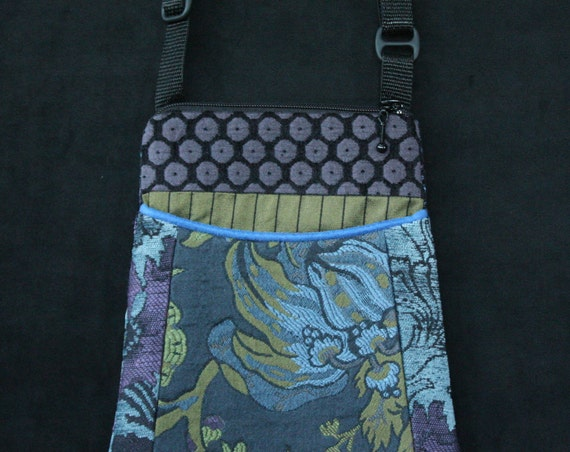 Mineral Adjustable Purse in Blue and Lavender Floral Jacquard Upholstery Fabric