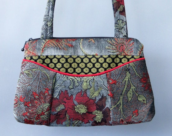 Slate Medium Nancie Purse in Gray and Red Floral Jacquard Upholstery Fabric
