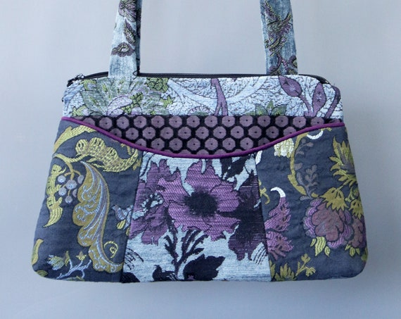 Mineral Medium Nancie Purse in Blue and Purple Floral Jacquard Upholstery Fabric