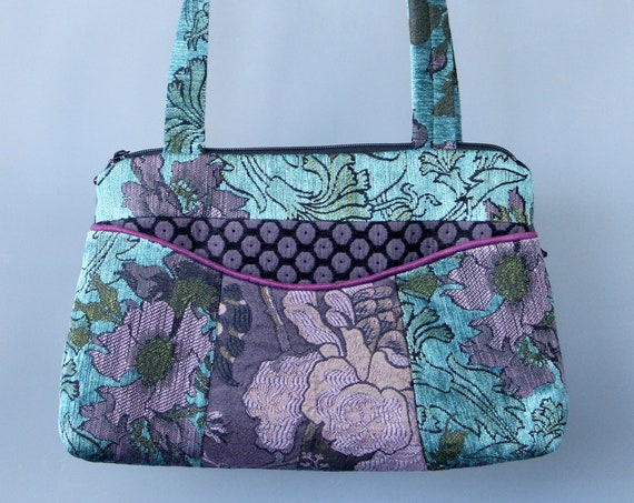 Lavender Medium Nancie Purse in Purple and Aqua Floral Jacquard Upholstery Fabric