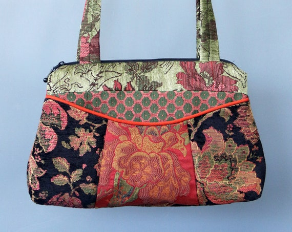 Rustic Medium Nancie Purse in Orange and Green Floral Jacquard Upholstery Fabric