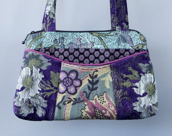 Aquamarine Medium Nancie Purse in Teal and Purple Floral Jacquard Upholstery Fabric