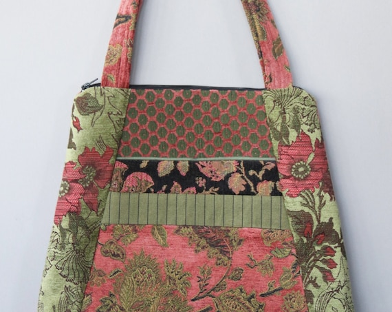 Melon Tapestry Tote Bag in Salmon and Sage Floral Upholstery Fabric Large