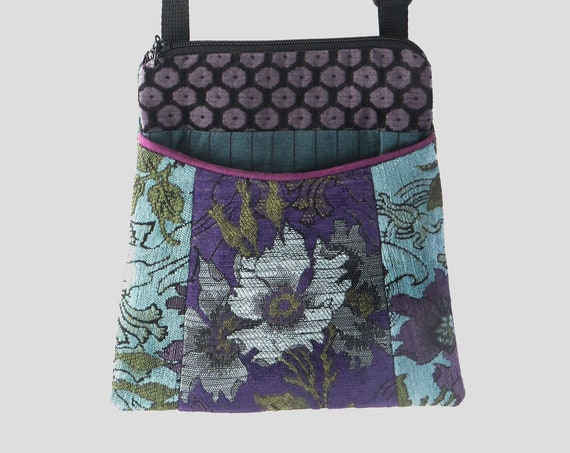 Hyacinth Tapestry Adjustable Purse in Purple and Aqua Floral Jacquard Upholstery Fabric