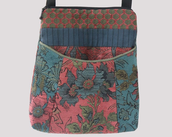 Zinnia Tapestry Adjustable Bag in Rust and Teal Floral Upholstery Fabric