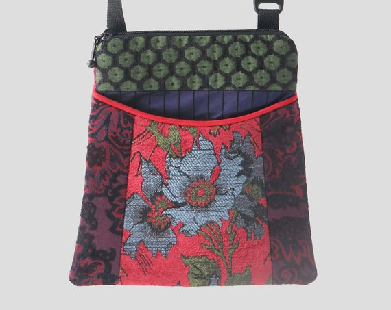 Adjustable Purse in Aqua, Burgundy and Green Floral Jacquard Upholstery Fabric- One of a Kind!
