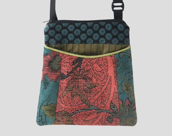 Adjustable Purse in Rust and Aqua Floral Jacquard Upholstery Fabric- One of a Kind!