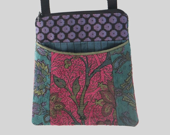 Adjustable Purse in Raspberry and Teal Floral Jacquard Upholstery Fabric- One of a Kind!