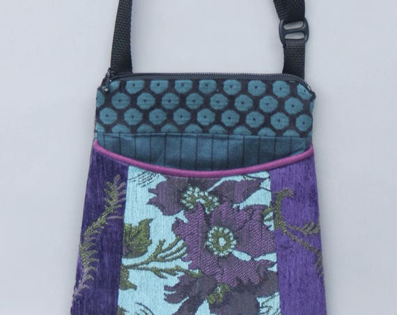 Seamist Tapestry Adjustable Purse in Purple and Aqua Floral Jacquard Upholstery Fabric