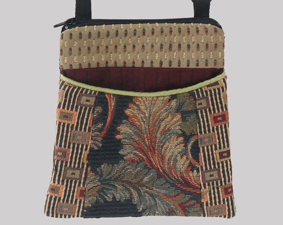Carnival Tapestry Adjustable Purse in Beige Floral and Geometric Jacquard Upholstery Fabric