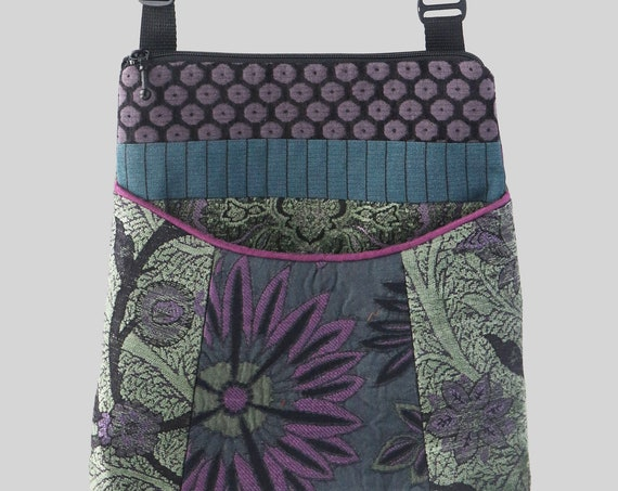 Tapestry Adjustable Bag in Teal and Mint Floral Jacquard Upholstery Fabric- One of a Kind