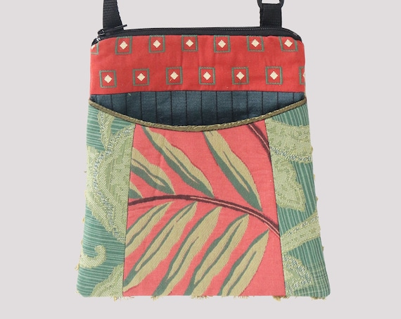 Frond Tapestry Adjustable Purse in Coral and Green Floral Jacquard Upholstery Fabric