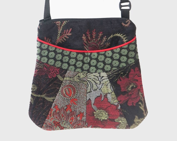 Medium Tapestry Adjustable Alyssa Purse in Black, Gray and Red Floral Upholstery Fabric