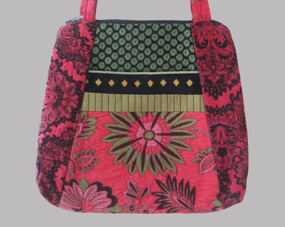 Tapestry Tote Bag in Pink and Green Floral Upholstery Fabric Large- One of a Kind!