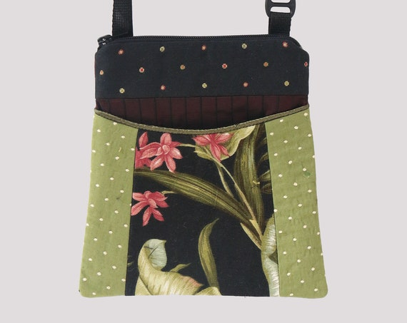 Orchid Tapestry Adjustable Purse in Black and Avocado Floral Jacquard Upholstery Fabric