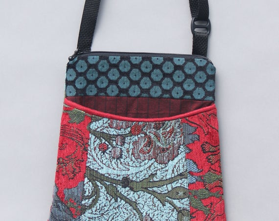 Red Wine Tapestry Adjustable Purse in Teal and Red Floral Jacquard Upholstery Fabric