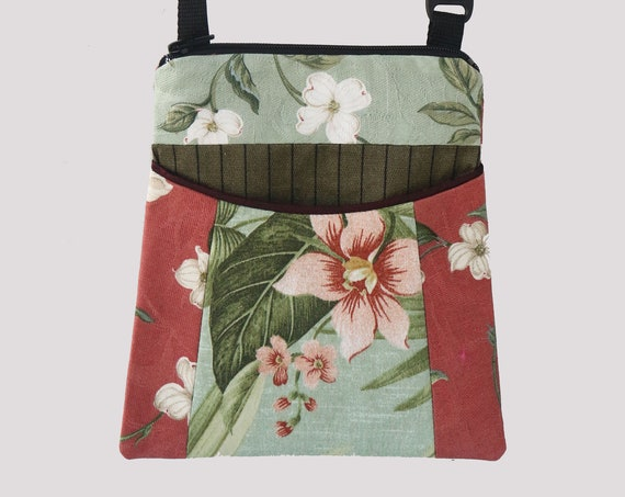 Hibiscus Tapestry Adjustable Purse in Coral and Aqua Floral Jacquard Upholstery Fabric