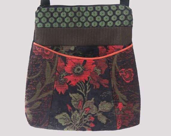 Nasturtium Tapestry Adjustable Bag in Black and Orange Floral Jacquard Upholstery Fabric Large