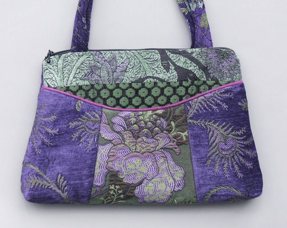 Forest Medium Nancie Purse in Green and Purple Floral Jacquard Upholstery Fabric