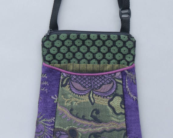 Forest Tapestry Adjustable Purse in Purple and Green Floral Jacquard Upholstery Fabric