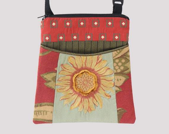 Sunflower Tapestry Adjustable Purse in Coral and Yellow Floral Jacquard Upholstery Fabric