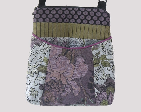 Silver Tapestry Adjustable Bag in Gray and Purple Floral Jacquard Upholstery Fabric Large