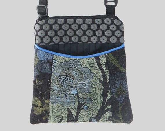Adjustable Purse in Black and Green Floral Jacquard Upholstery Fabric- One of a Kind!