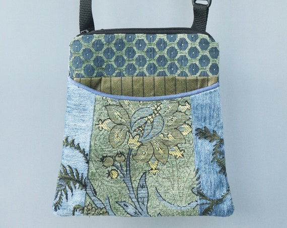 Dusk Adjustable Purse in Green and Blue Floral Jacquard Upholstery Fabric