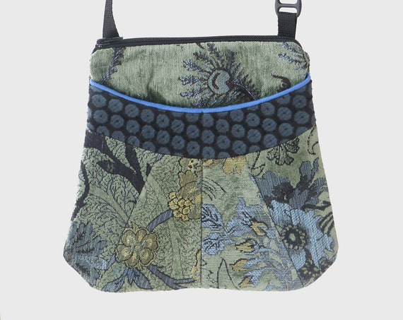 Medium Tapestry Adjustable Alyssa Purse in Sage, Blue and Yellow Floral Upholstery Fabric