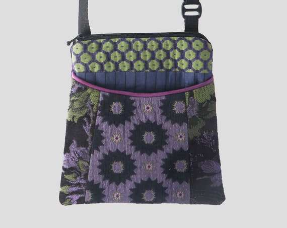 Adjustable Purse in Purple and Green Floral Jacquard Upholstery Fabric- One of a Kind!