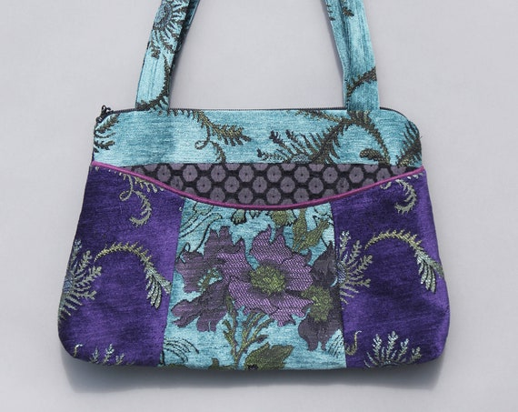 Seamist Medium Nancie Purse in Purple and Aqua Floral Jacquard Upholstery Fabric